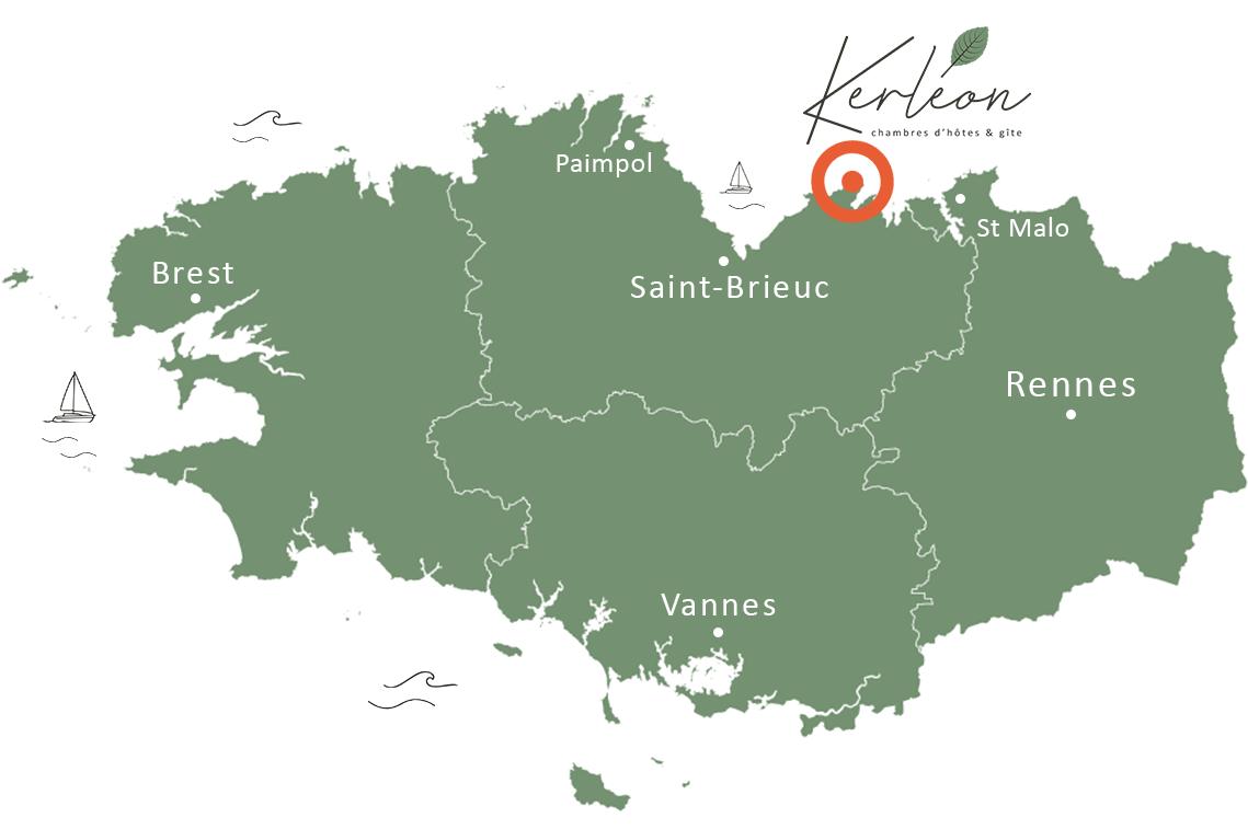 Carte de Bretagne - Kerléon, chambres d'hôtes et gîte au Cap Fréhel